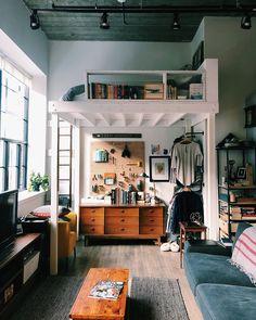 home proje Loft Bedroom Studio Apartment DIY Ideas Design Apartment, Apartment Therapy, Apartment Living, Apartment Layout, Apartment Interior, 1 Bedroom Apartment, Small Rooms, Small Apartments, Small Spaces