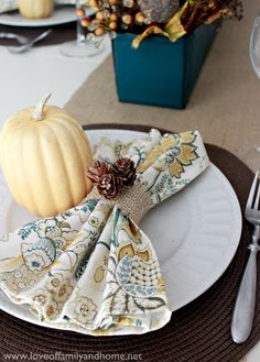 Fall Centerpiece & Napkin Ring Tutorials - Tablescape Details - Love of Family & Home