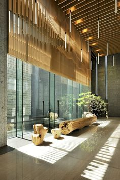 Lobby decors always need a luxurious suspension lamp. Discover more luxurious interior design details at luxxu.net