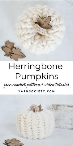 Decorate your home this fall with herringbone pumpkins. This free pattern includes step-by-step pictures to complete the herringbone stitch and includes a full video tutorial. Holiday Crochet, Crochet Fall, Crochet Home, Crochet Gifts, Free Crochet, Knit Crochet, Yarn Projects, Knitting Projects, Crochet Projects