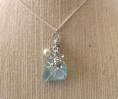 Wire Wrapped Double Sea Glass  Necklace by TheGreenEyedTurtle, $20.00