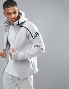 Adidas adidas Athletics ZNE 2 Hoodie In Gray BQ0074 Sport Wear, Sweater  Jacket, Mens 01be4b75e3