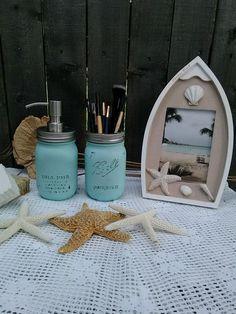 Mason Ball Jar Aqua Beach Bath Soap Dispenser Set #Mason