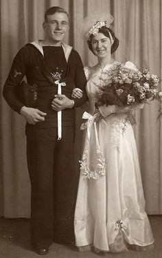 .Many couples met while the soldier was on leave, and married in the few days before the groom left again. These marriages are the marriages we see now of 60 and 70 years.