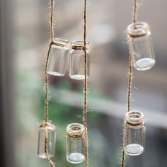 Glass Planter Rope Hanging Small Planter Long (Set of – Metal Plant Hanger Hanging Glass Planters, Hanging Jars, Diy Planters, Hanging Plants, Chandelier Planter, Plants Indoor, Small Glass Bottles, Glass Bottle Crafts, Corten Steel Planters