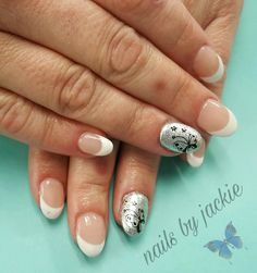 Young nails gel  Deep french manicure  Silver butterfly nail art Nails by jackie