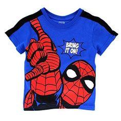 b57a676c Marvel Boys Tee Shirt Kids Tops Short Sleeve Spider-man Graphic Children 4  5 6