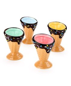 Suitable for serving up decadent scoops of double-fudge ice cream with cherries on top, these delightful cups make eating dessert twice the fun.Includes four cups3.5'' HCeramicHand washImported