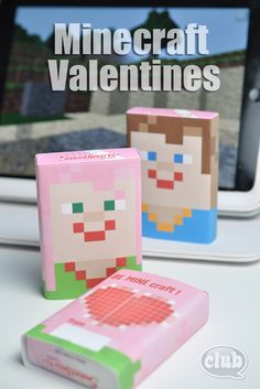 Bruin Bruin Wheeler My Minecraft-obsessed children will have a blast wrapping these printable Minecraft wrappers on boxes of Valentines smarties for their friends. Absolutely perfect and a fun way to get them involved. Valentine Day Boxes, My Funny Valentine, Valentines Day Party, Valentines For Kids, Valentine Day Crafts, Holiday Crafts, Holiday Fun, Valentine Ideas, Printable Valentine