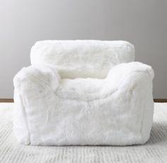 4ef18caaa3 Luxe Faux Fur Bean Bag Chair - White
