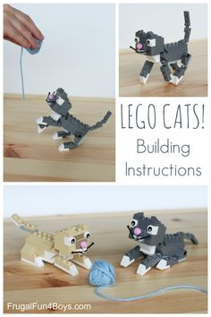 Cats Toys Ideas - How to Build LEGO Cats - Building Instructions - Ideal toys for small cats Lego Duplo, Lego Dog, Activities For Kids, Crafts For Kids, Stem Activities, Lego Challenge, Lego Club, Lego Craft, Ideal Toys