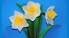 Paper flowers making easy. How to Make narcissus Tissue Paper. Crepe paper flower making. Julia DIY