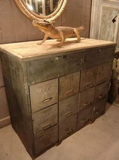 French Vintage Industrial Work Cabinet with Metal Drawers and Wood Top -