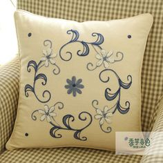 Dancing in the Wind Embroidery Pillow Cushion Embroidery, Embroidered Cushions, Hand Embroidery Stitches, Embroidery Designs, Contemporary Pillows, Cute Cushions, Mexican Embroidery, Handmade Cushions, Personalized Pillows