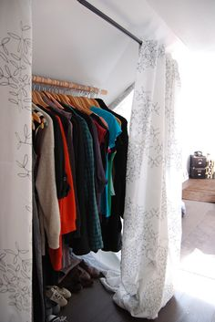 """great way to make a """"closet"""" . hang a big rod in the one corner and put some curtains/cloth there as a """"door"""". (use bar to hang scarves) @ cheree dale"""