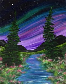 Painting with a Twist- Summer Northern Lights