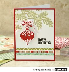 Hero Arts Cardmaking Idea: Happy Holidays.  I love the offset stamping on the branches.