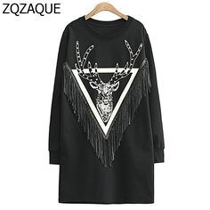 Fashion Rivets Deer Pattern Hoodies European and American New Women's Long Style Pullover Tassel Sweatshirts High Quality SY858 #Affiliate
