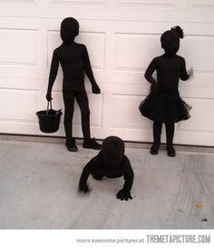 "Kids dressed as SHADOWS for Halloween - their mother bought black morph suits for them then layered black clothes over those. She says, ""This might be the easiest costume on earth. And from all of my costumes over the years, this one got the very best reaction"" - Just make sure they have a reflective piece of jewlery or glowsticks if you go trick or treating at night"