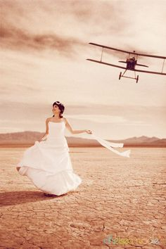 LAS VEGAS, NV – vintage aviation trash the dress, military #wedding #hitchcock #NorthbyNorthwest