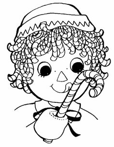 Raggedy Andy Eats Candy Cane Coloring Page