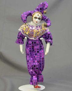 "Pierrot Harlequin Dolls | Pierrot Harlequin Jester Ceramic Plush Doll 12"" Purple Mardi Gras ..."