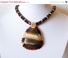CHRISTMAS SALE Beadwork Bead Embroidery Pendant Necklace by lutita