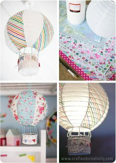Paper Lantern Turns Into Hot Air Balloon-Incredible DIY Paper Lanterns For Your .Paper lantern turns into hot air balloon incredible DIY paper lanterns for your homeThumb Sucking: How to Make an Origami Paper Lantern. Paper Lantern Lights, Paper Lanterns, Balloon Lanterns, Cute Crafts, Diy And Crafts, Paper Crafts, Lampe Ballon, Balloon Crafts, Balloon Ideas