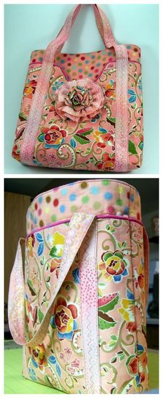 Spring Day Tote Bag with Fabric Flower. Immediate download available. This tote was chosen as one of the top sewing projects of 2010 at Martha Stewart's website. #bohototebagpattern