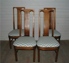 Mid Century Highback Dining Chairs That Have Been Reupholstered With A Blue Gray Chevron Zig