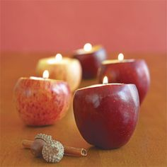 Apple Crafts - Centerpieces, Candle Holders, Napkins and Place Mats Made from Apples - Quick & Simple