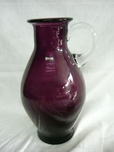 Vintage Amethyst Glass Pitcher Mid Century Danish Modern Hadeland Norway Purple | eBay