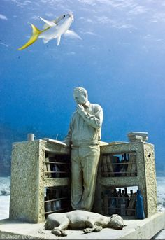 DeCaires placed 'The Archive of Lost Dreams' in an area of the Mexican national marine park, specifically where marine life has been damaged by passing hurricanes and tropical storms. The sculpture is intended to lure away the park's 750,00o yearly visitors from other sections of the surrounding pristine reef allowing space to recover and develop naturally.