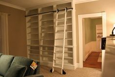 Our Garage Storage Needs A Make Over With Rolling Library Ladder To Full Use Of Space No Basement In Home