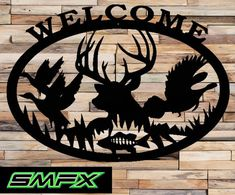 Deer welcome sign made from 16 gage steel 29 x 21 painted black can be customized or even a different color just ask and i will see what i