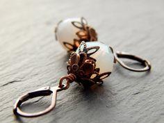 Ohrringe - Weißer Kupferopal von Perlenfontäne auf DaWanda.com