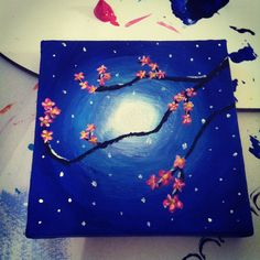 "Original Hand Painted 3x3 inch Mini Canvas Magnet - ""Moonlight Cherry Blossoms"". $7.50, via Etsy."
