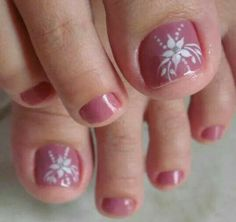 Uñas para los pies Pretty Toe Nails, Cute Toe Nails, Cute Acrylic Nails, Toe Nail Color, Toe Nail Art, Nail Colors, Toenail Art Designs, Flower Pedicure Designs, Feet Nail Design