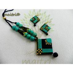 Funky Jewelry, Wooden Jewelry, Jewelry Art, Gold Jewellery, Jewelery, Terracotta Jewellery Online, Terracotta Jewellery Designs, Polymer Clay Pendant, Clay Beads