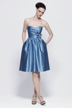 Sweetheart A-line with hand made flower taffeta bridesmaid dress
