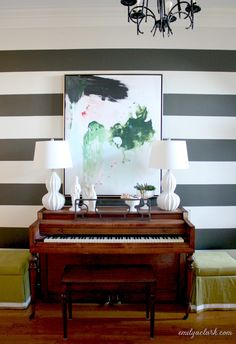 Changing The Artwork In Our Striped Entry (abstract painting over piano by Lindsay Letters)