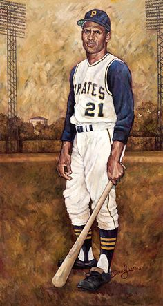Baseball Art - Roberto Clemente by Dino Guarino. Pittsburgh Pirates Baseball, Baseball Star, Pittsburgh Sports, Baseball Cards, Baseball Wall, Roberto Clemente, Mlb Players, Baseball Players, Baseball Season