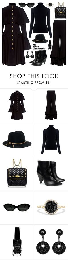 """BACK IN BLACK"" by shoaleh-nia ❤ liked on Polyvore featuring Caroline Constas, Alexis, Eugenia Kim, M.i.h Jeans, Boutique Moschino, Carven, Effy Jewelry, Azature and Giorgio Armani"
