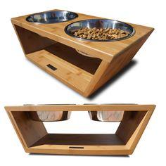 Fancy Dog Dining | Raised Dog Bowls | Pet Lounge Studios Bambu Angled Diner