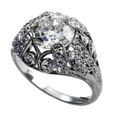 Tiffany & Co. Art Deco Diamond Engagement Ring | From a unique collection of vintage engagement rings at http://www.1stdibs.com/jewelry/rings/engagement-rings/