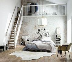Une chambre sur-dimensionnée dans un loft à New York aux murs bruts - Déco New York : 16 photos pour s'inspirer - CôtéMaison.fr
