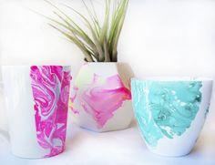 Mother's Day Marbled Gifts for Mom, Marbled Mug, Marbled Vase, Nail Polish Marbling - One Strange Bird