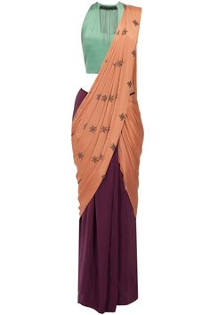 Colour blocked stitched hook and eye motifs sari available only at Pernia's Pop-Up Shop