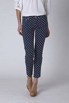 I love navy and white in the spring and these polka dotted jeans are made by my favorite denim designer, AG Jeans!