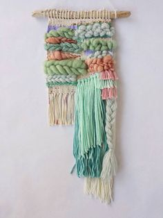 Woven Wall Hanging // pastel weaving with fringe and by CakeSpun